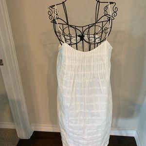 Thin strapped white shift dress